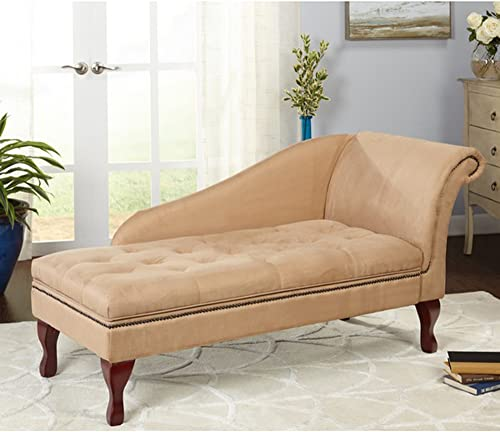Storage Chaise Lounge – Contemporary Lift Up Tufted Seat Chair – Microfiber Upholstered and Foam Filling – Nailhead Trim – Mahogany Legs – Great for Your Living Room Tan