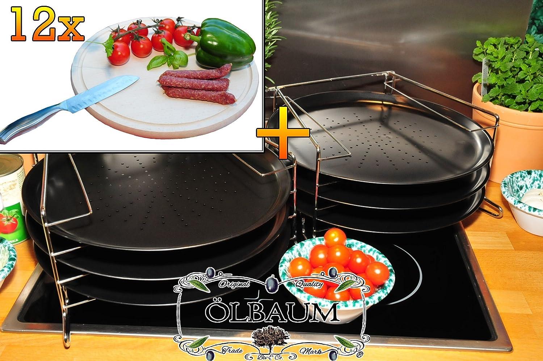 6 Stk. rundes Pizzablech mit gelochtem Boden + 2x 4 stufiger Edelstahl-Pizzablechhalter, TRADITIONELL, ca. 33 cm x 1 mm & 12 mal Picknick Grill-Holzbrett mit Rillung natur, groß, hochwertig, Buche, ca. 16 mm dick, mit abgerundeten Kanten, Maße rund je ca. 30 cm Durchmesser als Bruschetta-Servierbrett, Brotzeitbretter, Steakteller schinkenbrett rustikal, Schinkenteller von BTV, Brotzeitteller Bayern, Wildbrett, Wildbret,