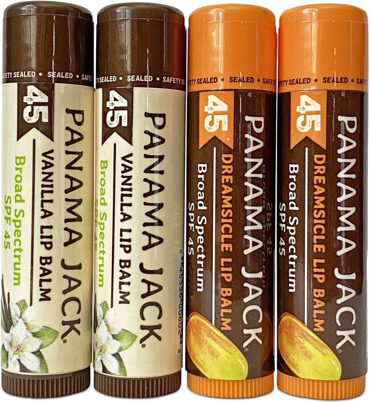 Panama Jack Sunscreen Lip Balm - SPF 45, Dual Pack Dreamsicle & Vanilla, Broad Spectrum UVA-UVB Sunscreen Protection, Prevents & Soothes Dry, Chapped Lips