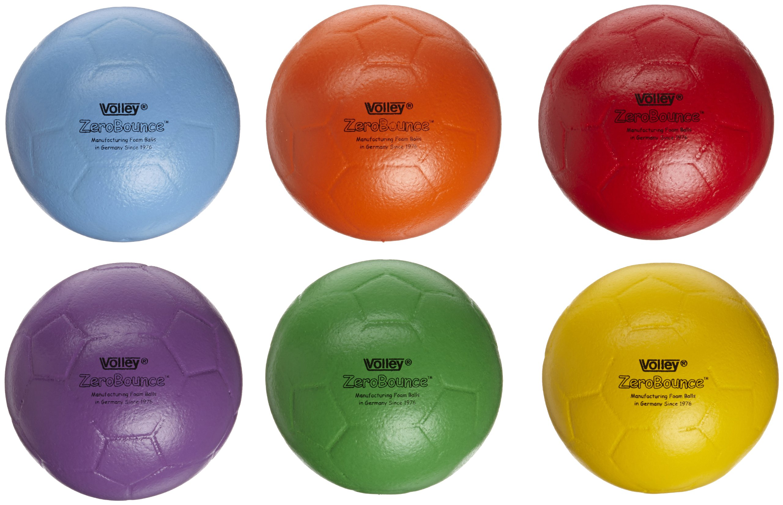 Volley ZeroBounce Indoor Soccer Ball - 8 1/4 inch - Set of 6 - Assorted Colors