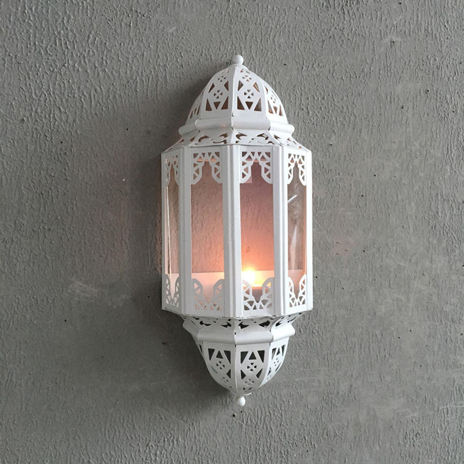 OOFYHOME Wall hanging wall ornaments, wall-mounted iron lamp candlestick, household items wall hanging wall decoration