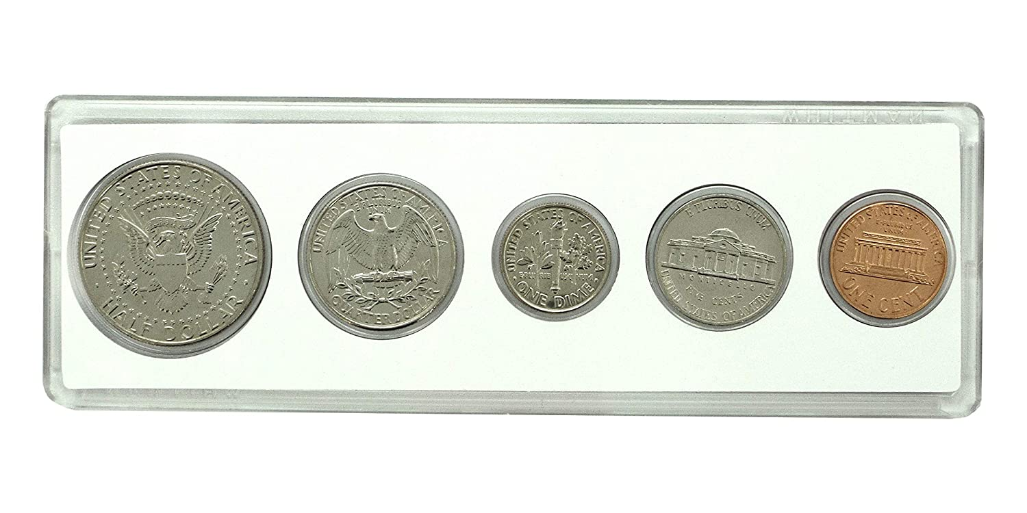 1995-25th Birthday 5 Coin Birth Year Set in American Flag Holder Uncirculated