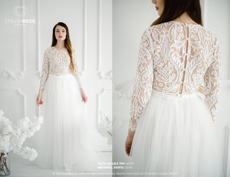 Amazon.com: Alice Lux Wedding Lace Dress, Stylish Engagement Simple ...