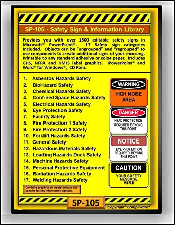 Amazon com: SP-105 - SAFETY SIGN LIBRARY - OSHA - 29 CFR 1910 1926