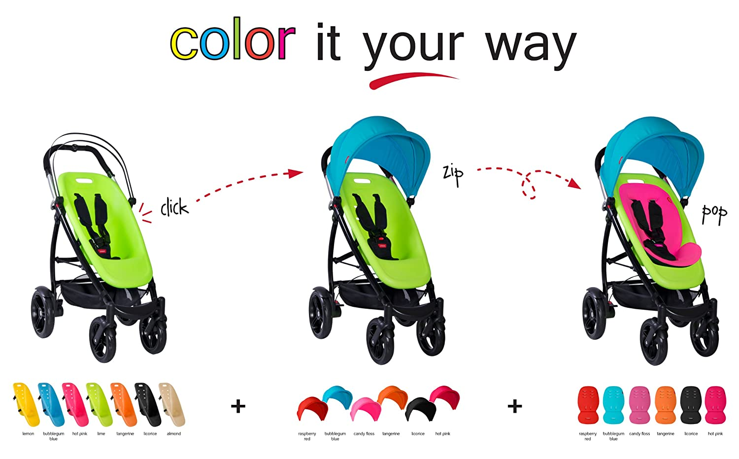 phil teds Smart Customizable Frame Stroller, Black