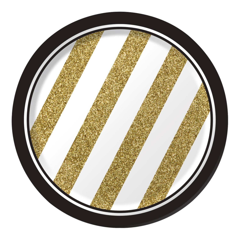 クラブパックof 96ホワイトとゴールドストライプラウンドパーティーLuncheon Paper Plates 7