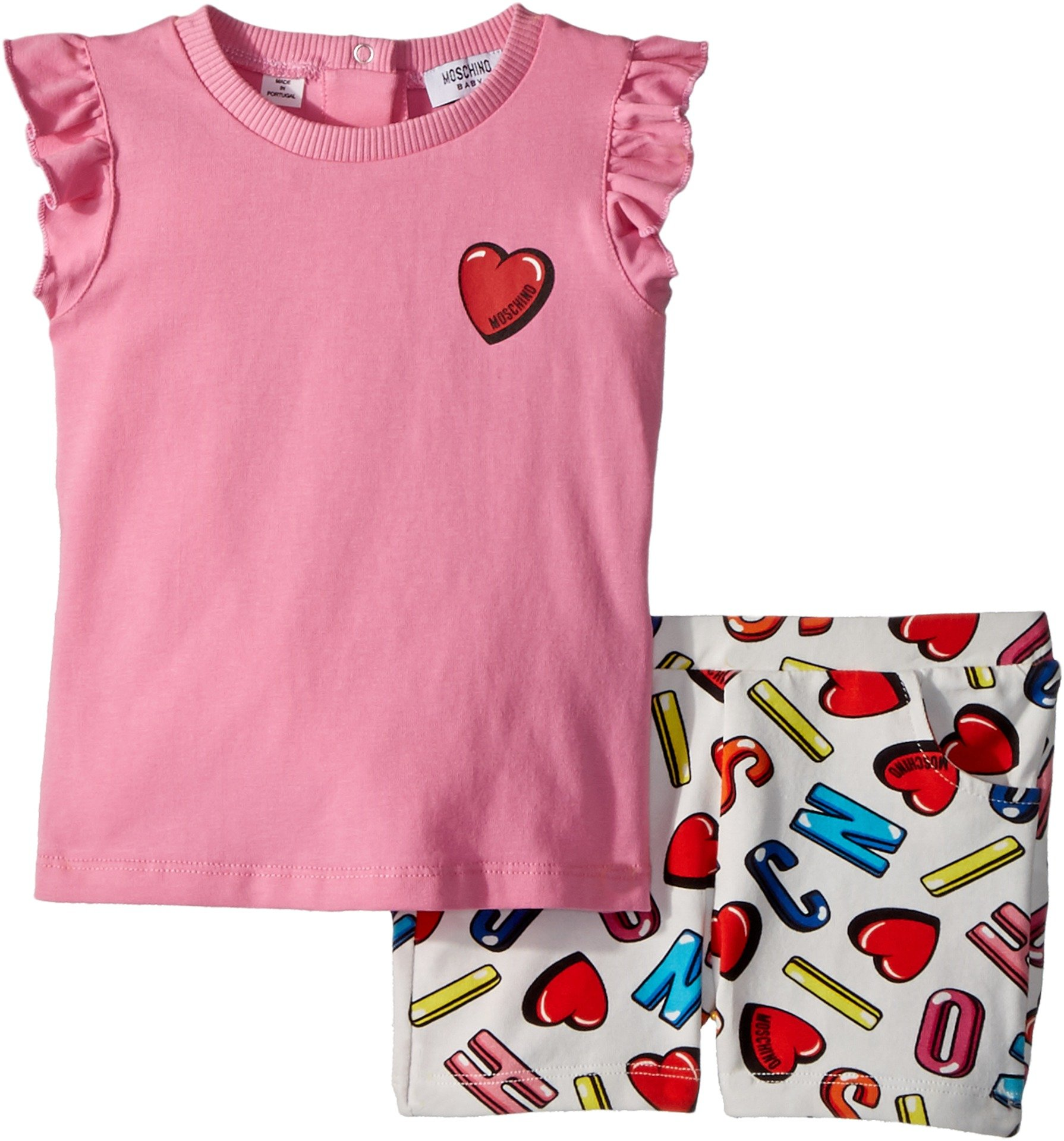 Moschino Kids Baby Girl's Logo Heart Graphic T-Shirt & Shorts Set (Infant/Toddler) Multi 12-18