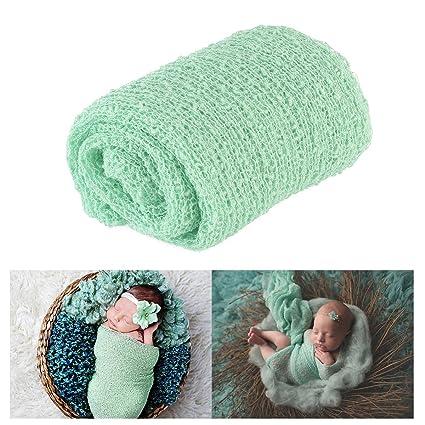 Tinksky Largo rizado abrigo, bebé DIY fotografía foto bebé abrigo apoyos (menta verde)