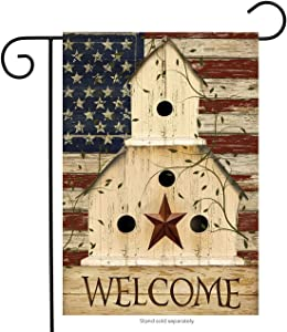 "Briarwood Lane Americana Welcome Garden Flag Primitive Patriotic 12.5"" x 18"""