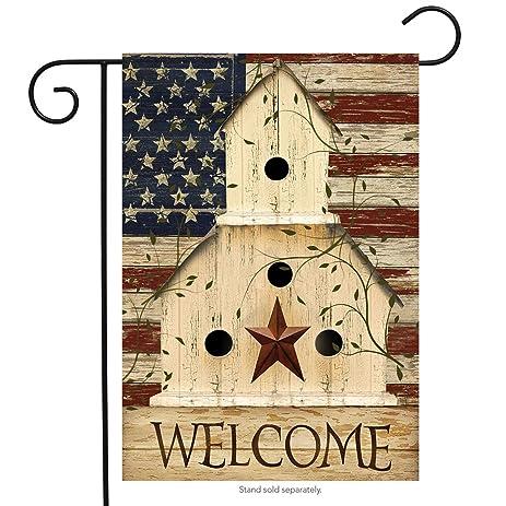 Americana Welcome Garden Flag Primitive Patriotic 12.5u0026quot; ...