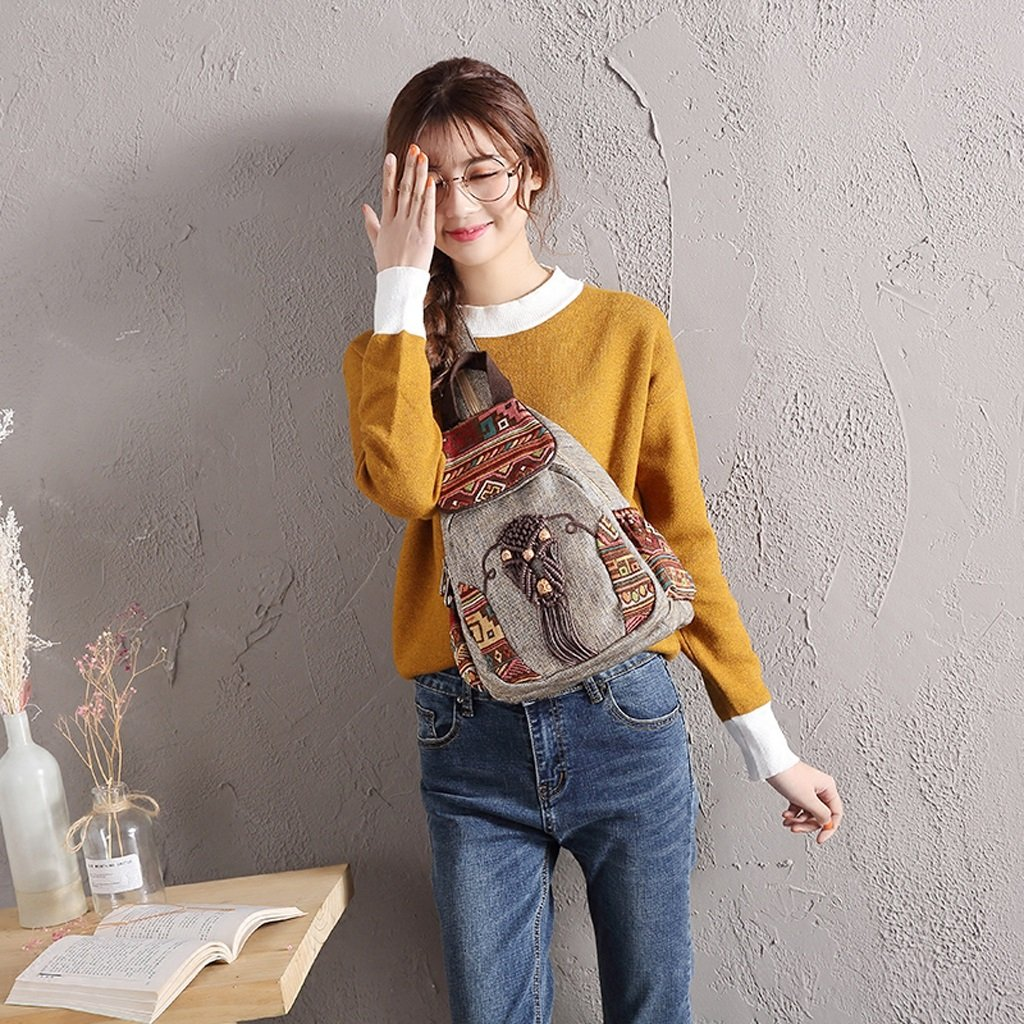 CJH Literary Retro Ladies Small Shoulder Bag Chest Bag Cloth Bag Travel Multi-Function National Wind Backpack