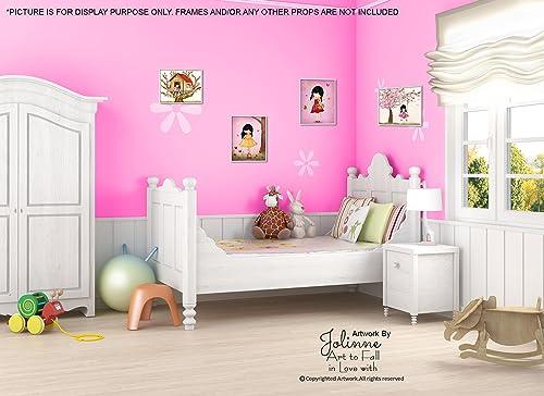 Amazon.com: Wall Art for Girls Room Kids Bedroom Decor Pink Nursery ...