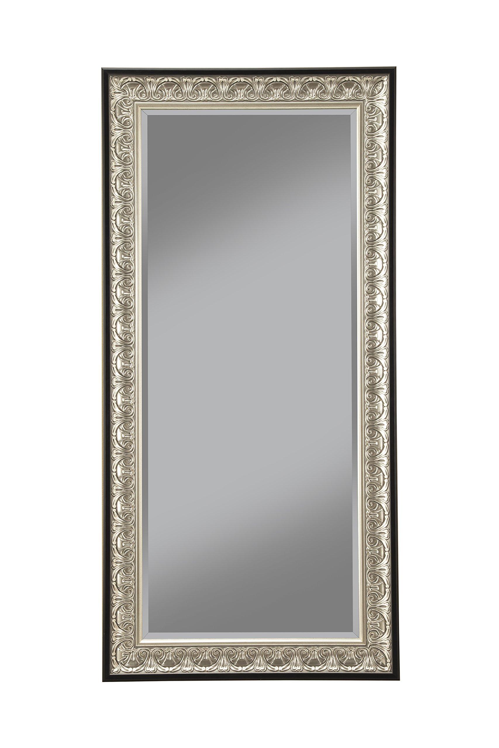 Sandberg Furniture 16011 Full Length Leaner Mirror Frame, Antique Silver/Black