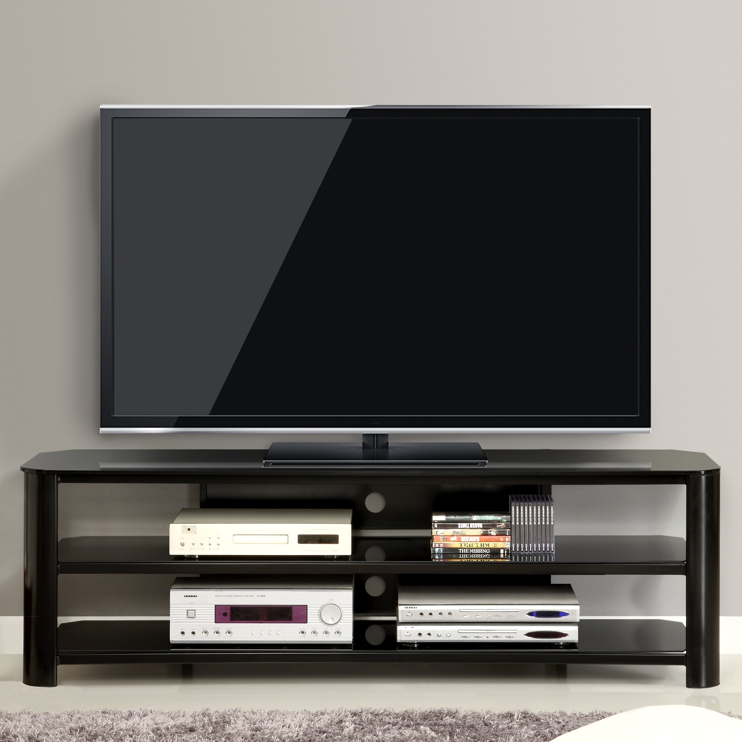 Innovex TPT65G29 Oxford Fold N Snap 65u201d Glass TV Stand For TVs Up To 70