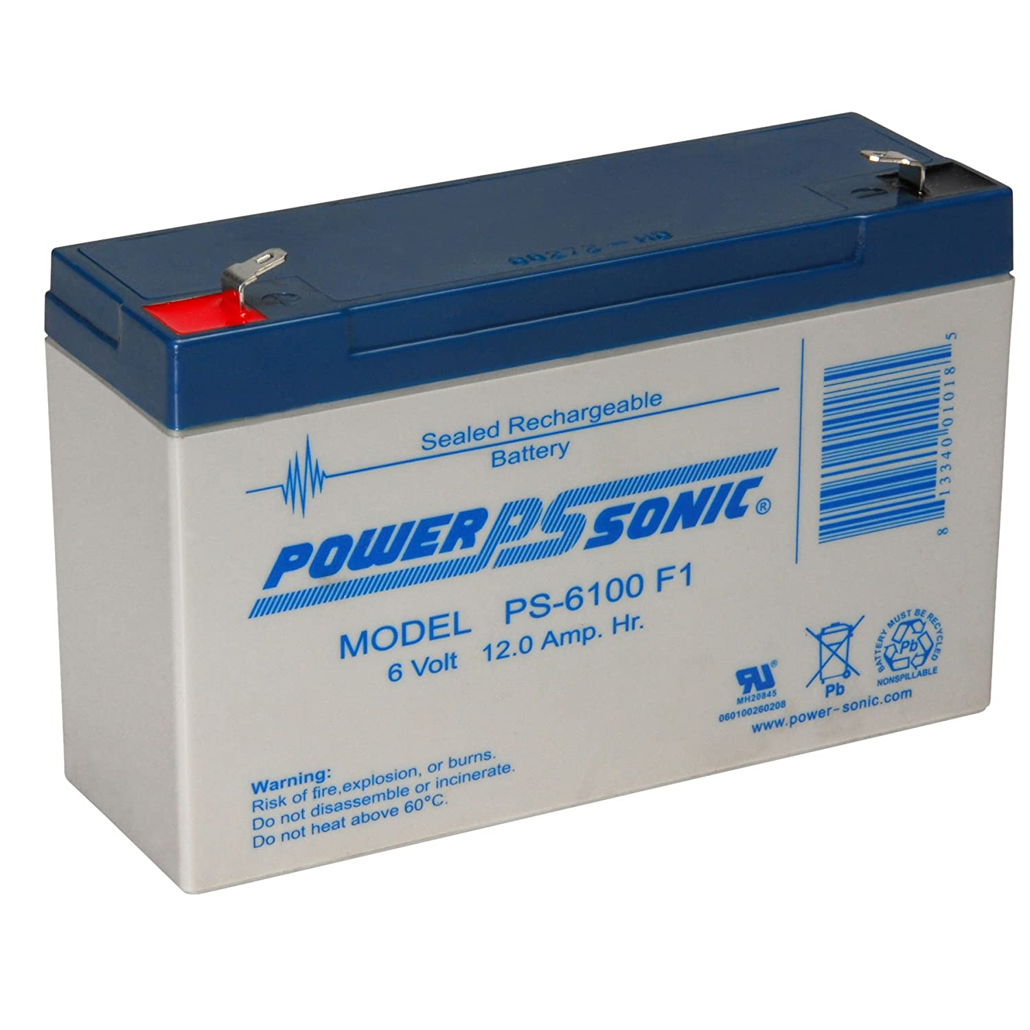 Powersonic PS-6100F1 - 6 Volt/12 Amp Hour Sealed Lead Acid Battery with 0.187 Fast-on Connector POWER-SONIC PS6100 F1