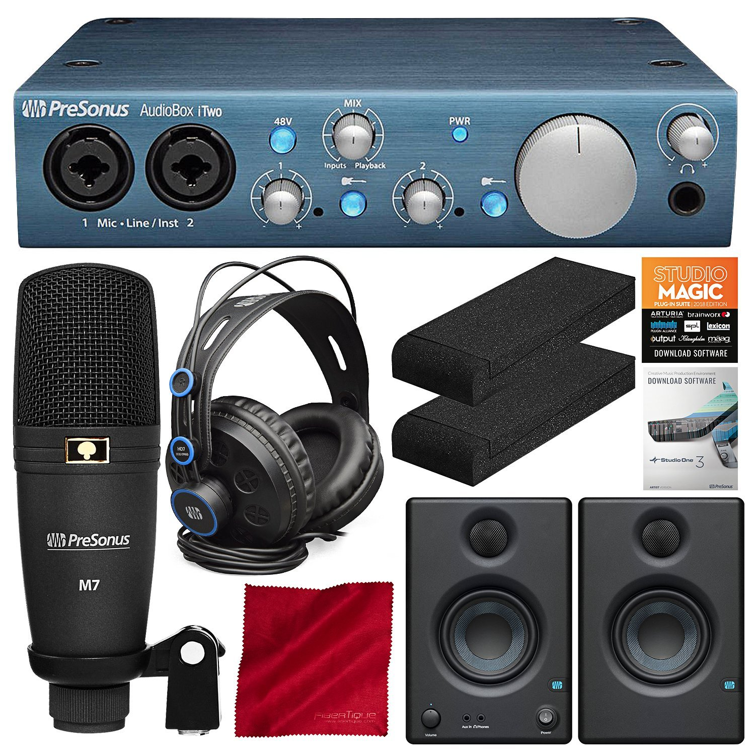 PreSonus AudioBox iTwo Studio Plus Mobile Complete Computer/iPad Recording Kit with Studio One Artist and Eris E3.5 Monitor (Pair) Deluxe Bundle