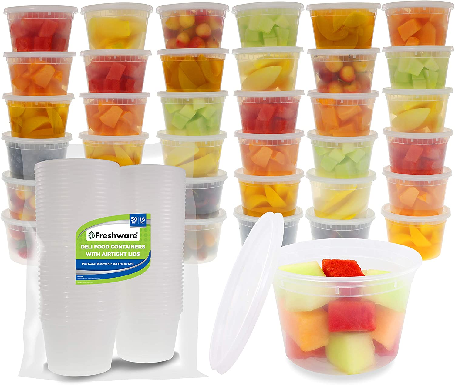 Freshware Food Storage Containers [50 Pack] 16 oz Plastic Containers with Lids, Deli, Slime, Soup, Meal Prep Containers | BPA Free | Stackable | Leakproof | Microwave/Dishwasher/Freezer Safe