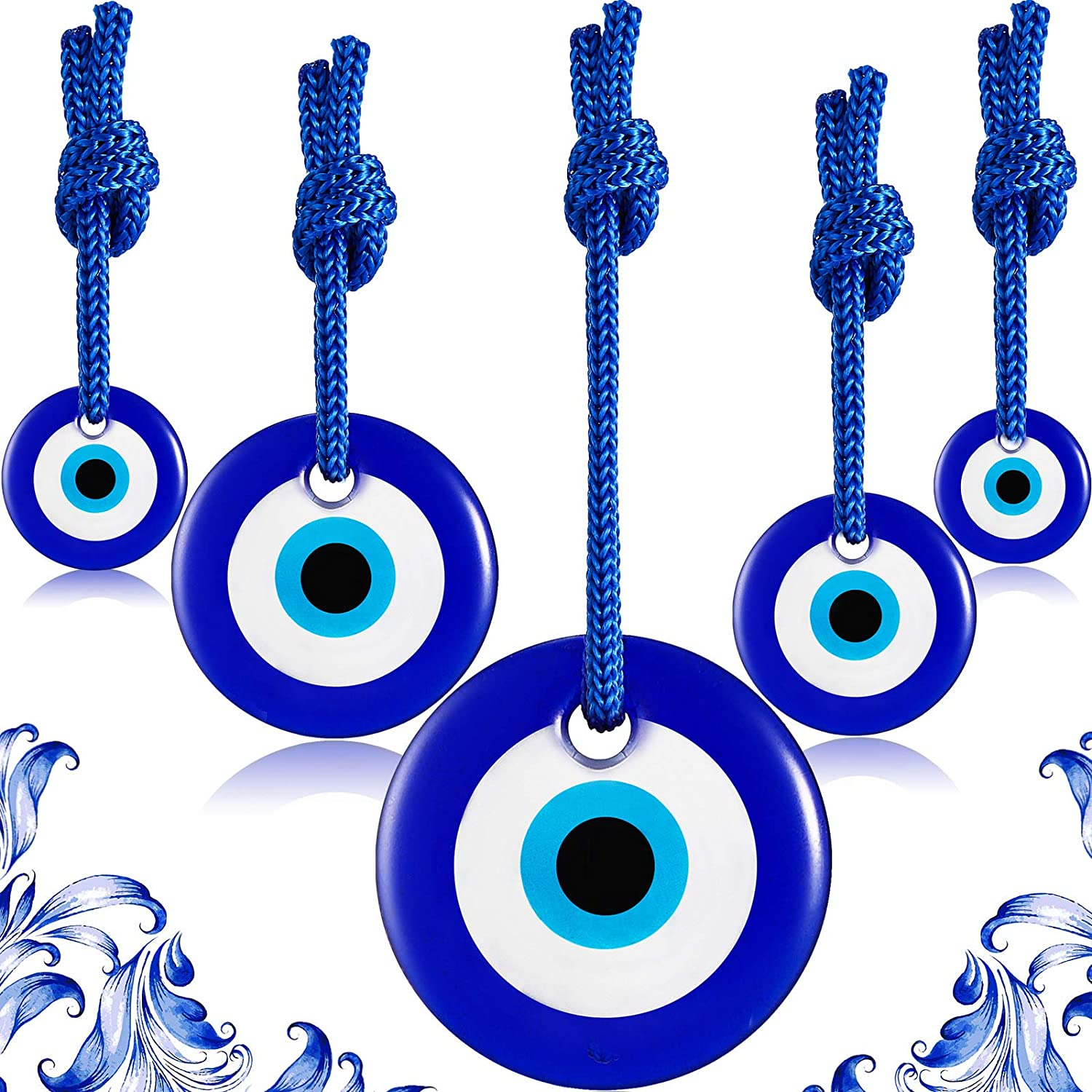 5 Pieces Blue Evil Eye Wall Hanging Ornaments Turkish Nazar Beads Glass Amulet Home Blessing Charm Wall Decor Home Protection House Decoration Good Luck Jewelry Accessories