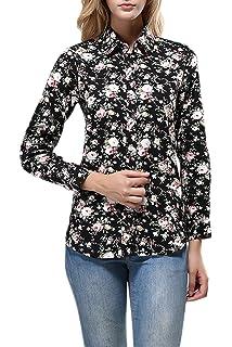 Vemubapis Manches Longues Cerises Ralentissement des Motifs Floraux Tee -  Shirt Col b29c24ac7f79