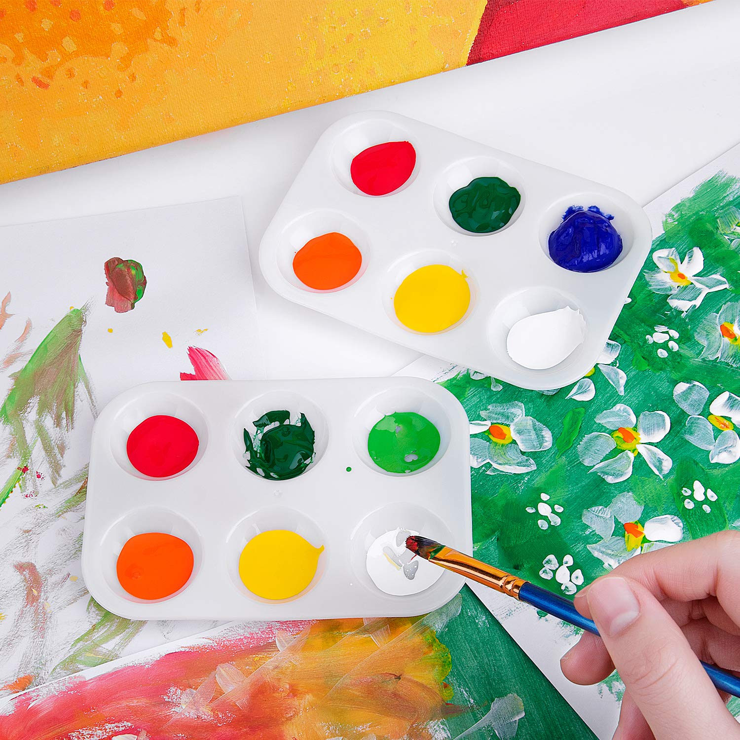 25 Pcs Paint Tray Palettes 6 Well Rectangular Plastic Watercolor Pallets White
