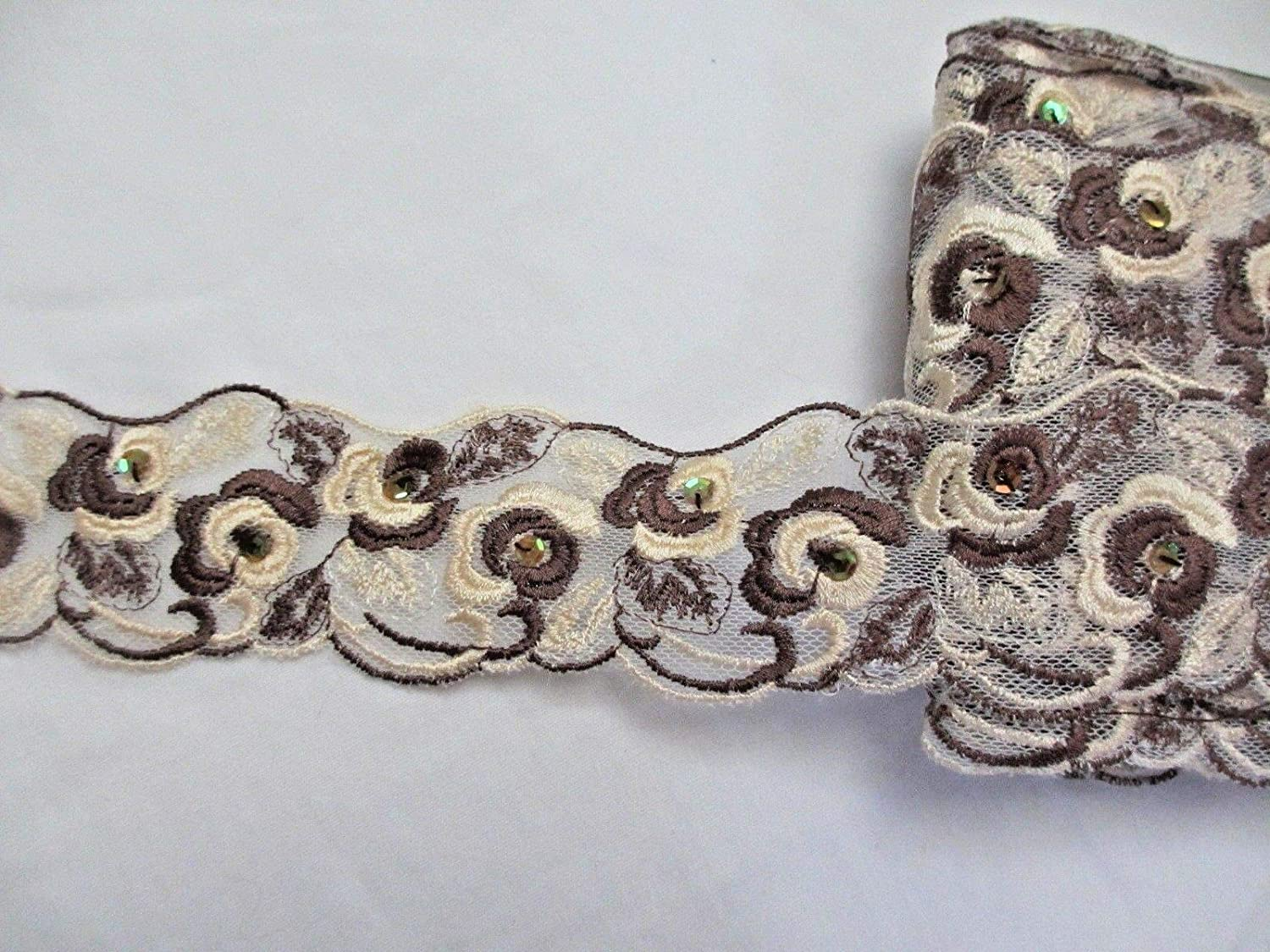 1 Yard Embroidery Applique Fabric Delicate DIY Art Craft Supply for Scrapbooking Gift Wrapping 2 3//8 Wide Coffee Bean Brown and Cream Embroidered Ribbon Lace Trim