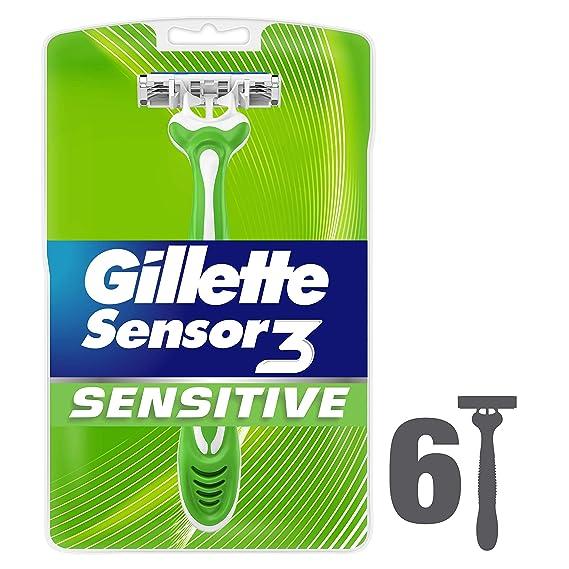 6 cuchillas de afeitar desechables Sensor3 para pieles sensibles para hombre, de Gillette: Amazon.es: Salud y cuidado personal