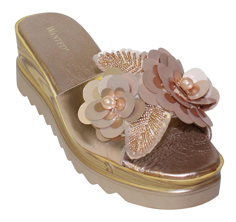 Wanted Women's Spray Flower Embellished Open Toe Platform Wedge Sandal B07BH7DL71 8.5 M US|Rose Gold