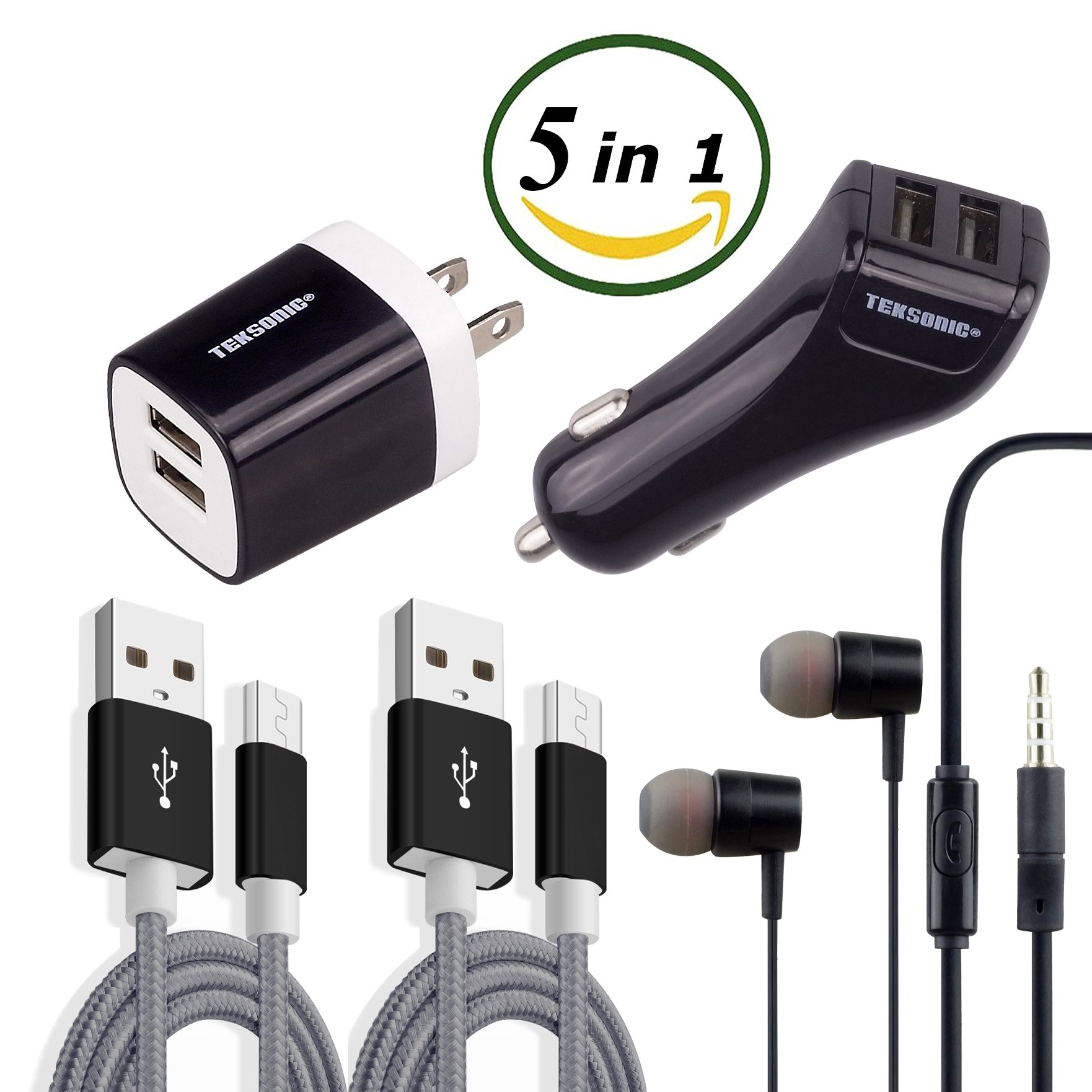 TekSonic [5 in 1] Charger Bundle with Dual 2.1 Amp Wall Charger, Dual Car Charger, 2 Braided 3.3ft Micro USB cable charge sync cords and Earphones - Accessory Kit for Android, Samsung, LG, HTC