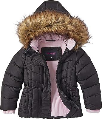 Girls Heavy Quilt Fleece Lined Long Winter Jacket Coat with Zip-Off Sherpa Hood