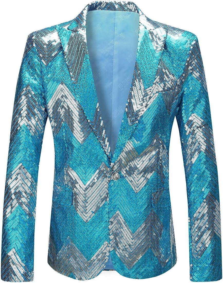 PYJTRL Mens Blue Gradient Sequins Blazer Suit Jacket