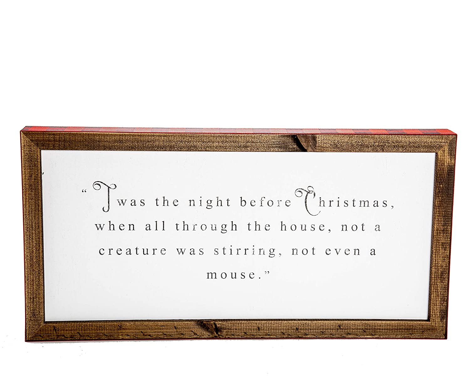 Relive Twas The Night Before Christmas Poem Wooden Box Sign With Buffalo Plaid Trim Inspirational Home Christmas Decor