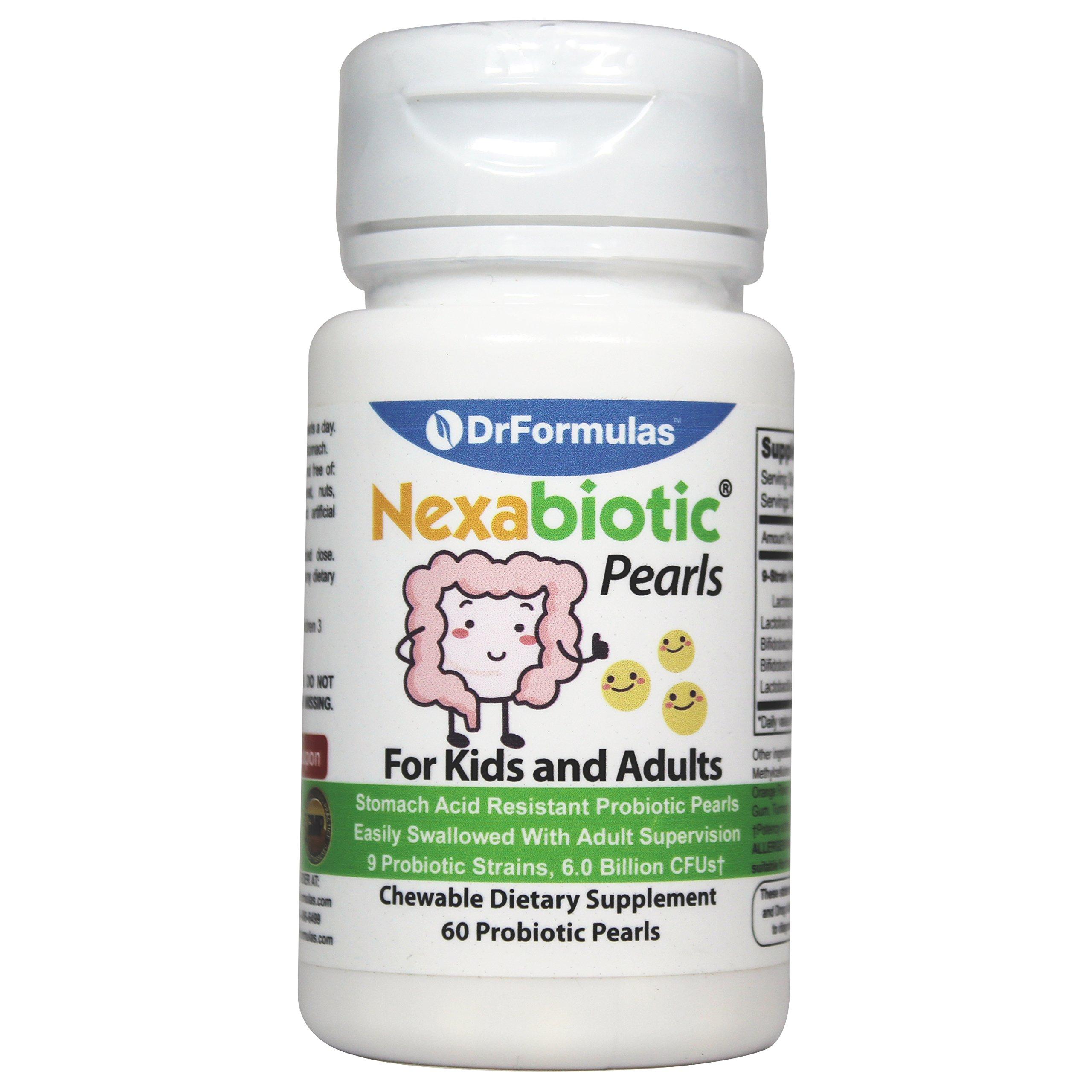 DrFormulas Nexabiotic Probiotic for Kids and Adults 6 Billion CFUs with Bifidobacterium infantis, Lactobacillus Acidophilus Probiotics, 60 Tiny Easy to Swallow Pearls (not Chewable Gummies or Powder)