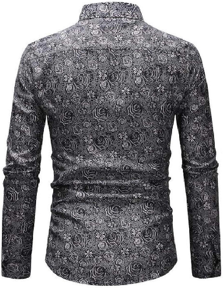 Tymhgt Mens Fashion Printed Long Sleeve Slim Button-Down Casual Shirts Tops
