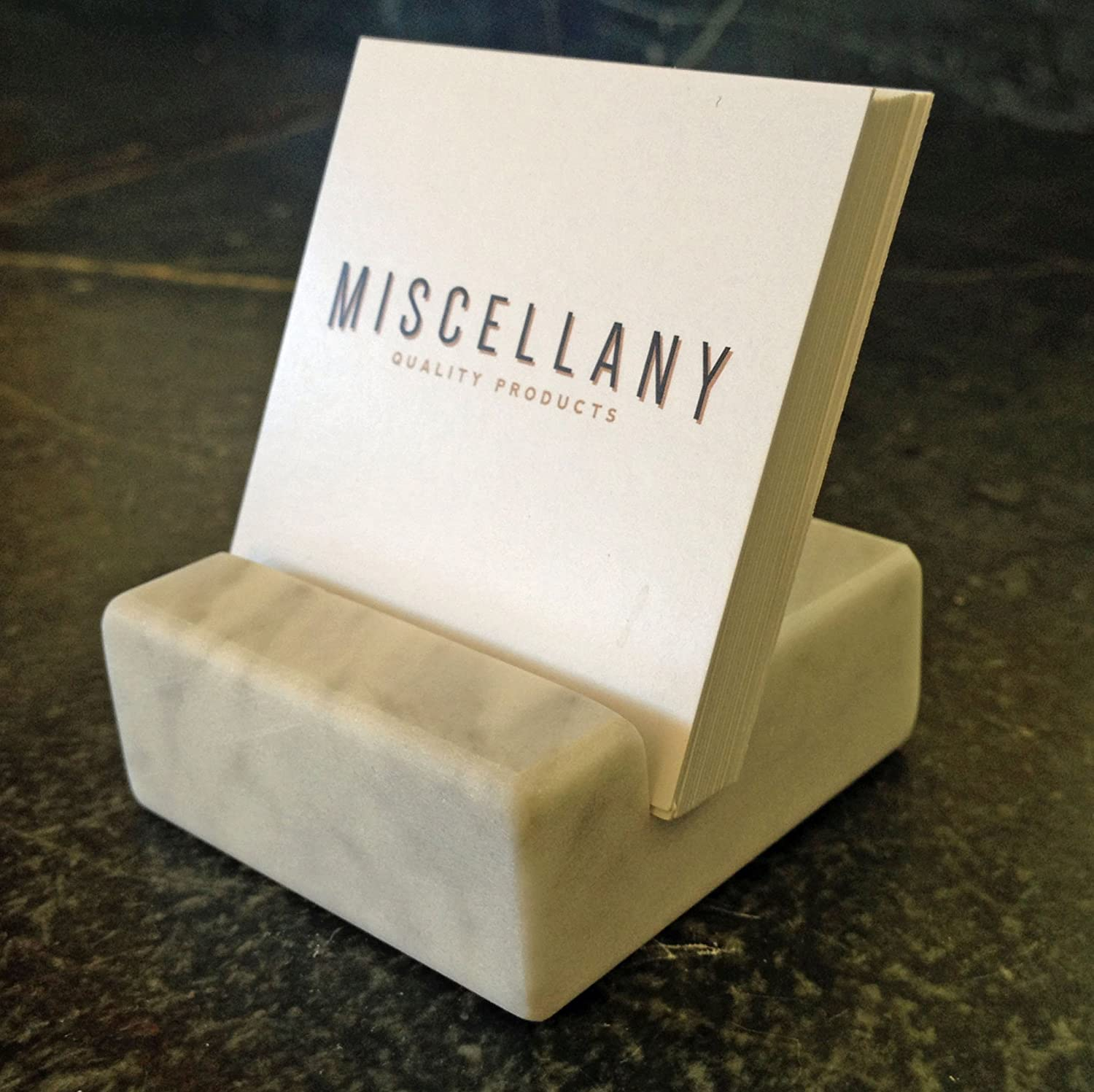 Amazon.com : Square Business Card Holder White Carrara Marble ...