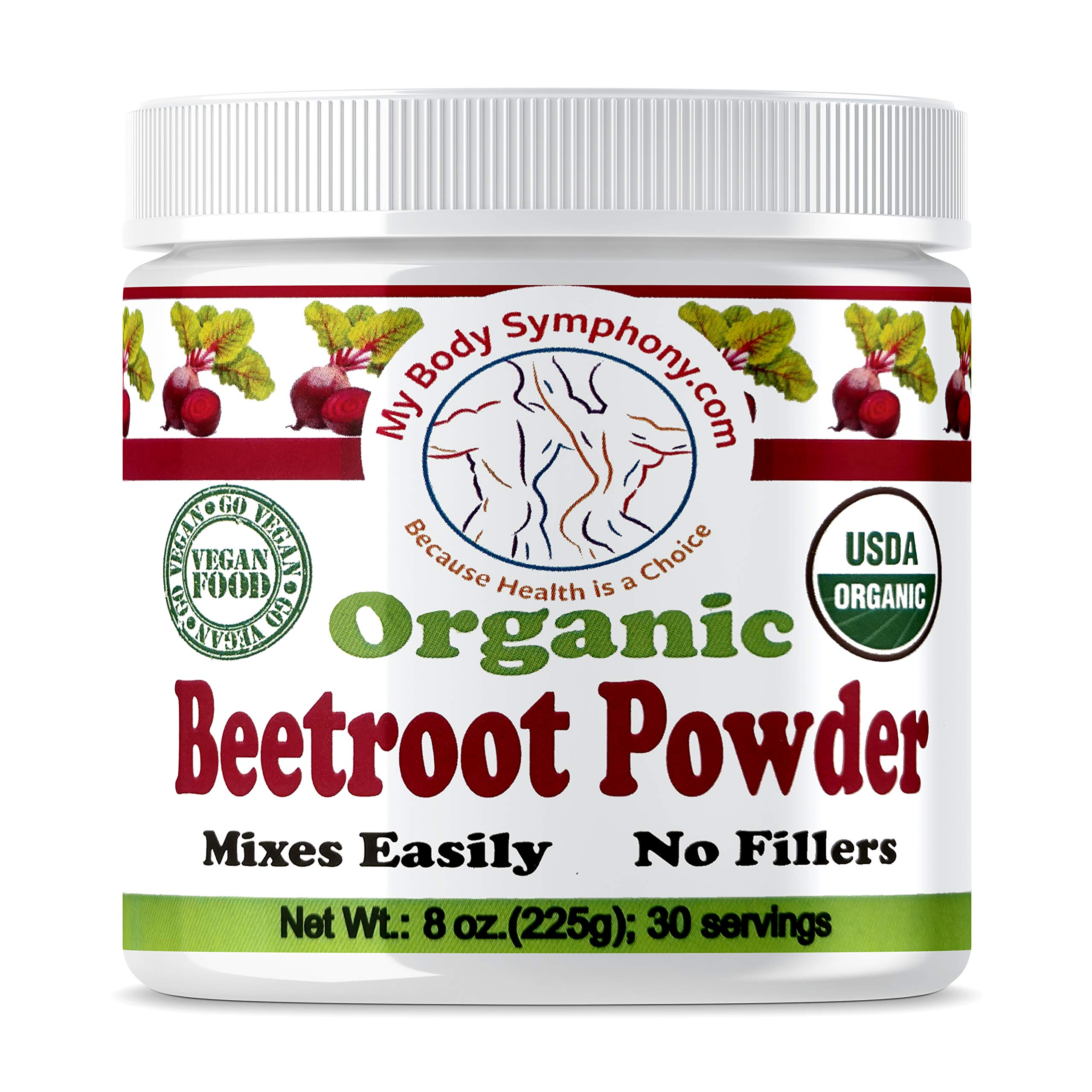 100% USDA Certified Organic Beetroot Superfood Juice Powder | Raw Beet Root, Pure, Non GMO, Natural Source of Nitrates | Boost Nitric Oxide & Supports Circulation, Digestion, Stamina, Energy (8 Oz) by MyBodySymphony.com
