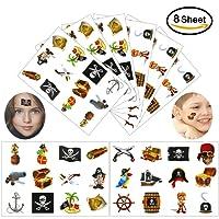 Konsait Pirati Tatuaggi Temporanei per bambini, 96Pcs Falso Tatuaggi temporaneo adesivi per bambini Giocattoli da Inserire in Buste Regalo Pirati festa di compleanno Bomboniere