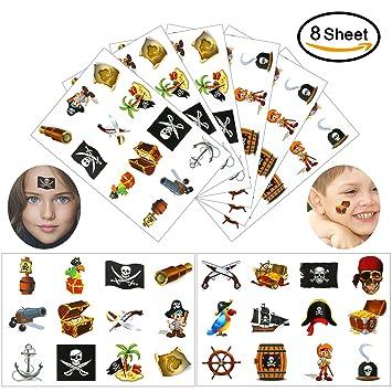 Konsait Pirata Tatuaje para niños, 96 Piezas Falso Tatuajes ...