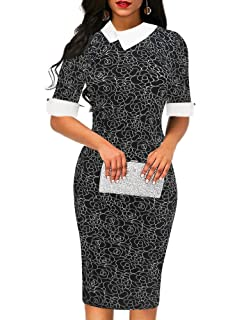 7a356aa72 oxiuly Women's Retro Bodycon Knee-Length Formal Office Dresses Pencil Dress  OX276