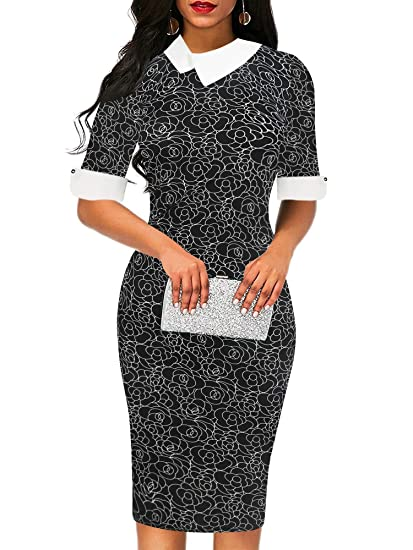 bae6bbbe61eb5 oxiuly Women's Retro Bodycon Knee-Length Formal Office Dresses Pencil Dress  OX276