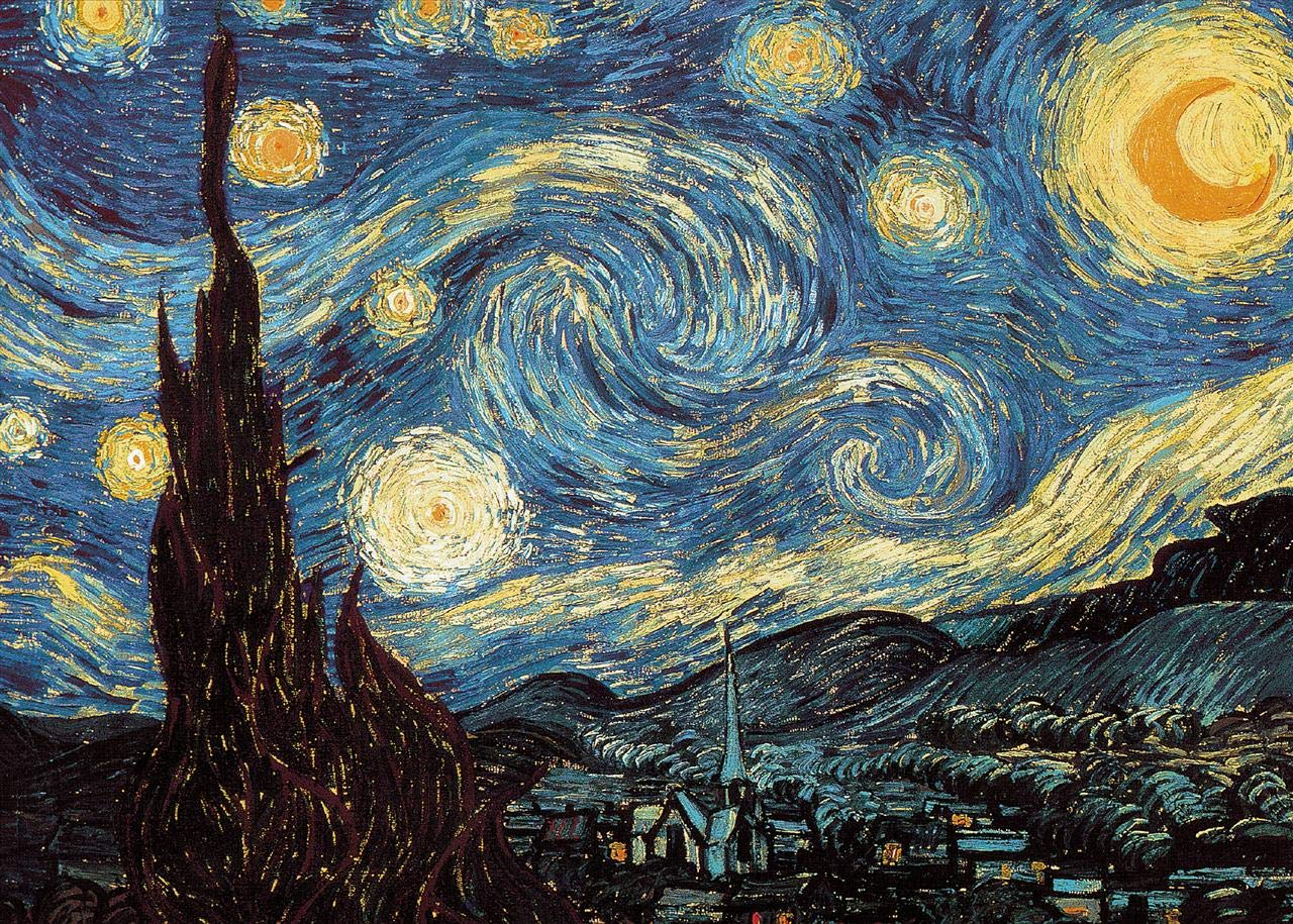 Powza Classic Oil Paintings 1000 Pieces Jigsaw Puzzle - The Starry Night, Artwork Art Large Size Jigsaw Puzzle Toy for Educational Gift Home Decor(27.6 in x 19.7 in)