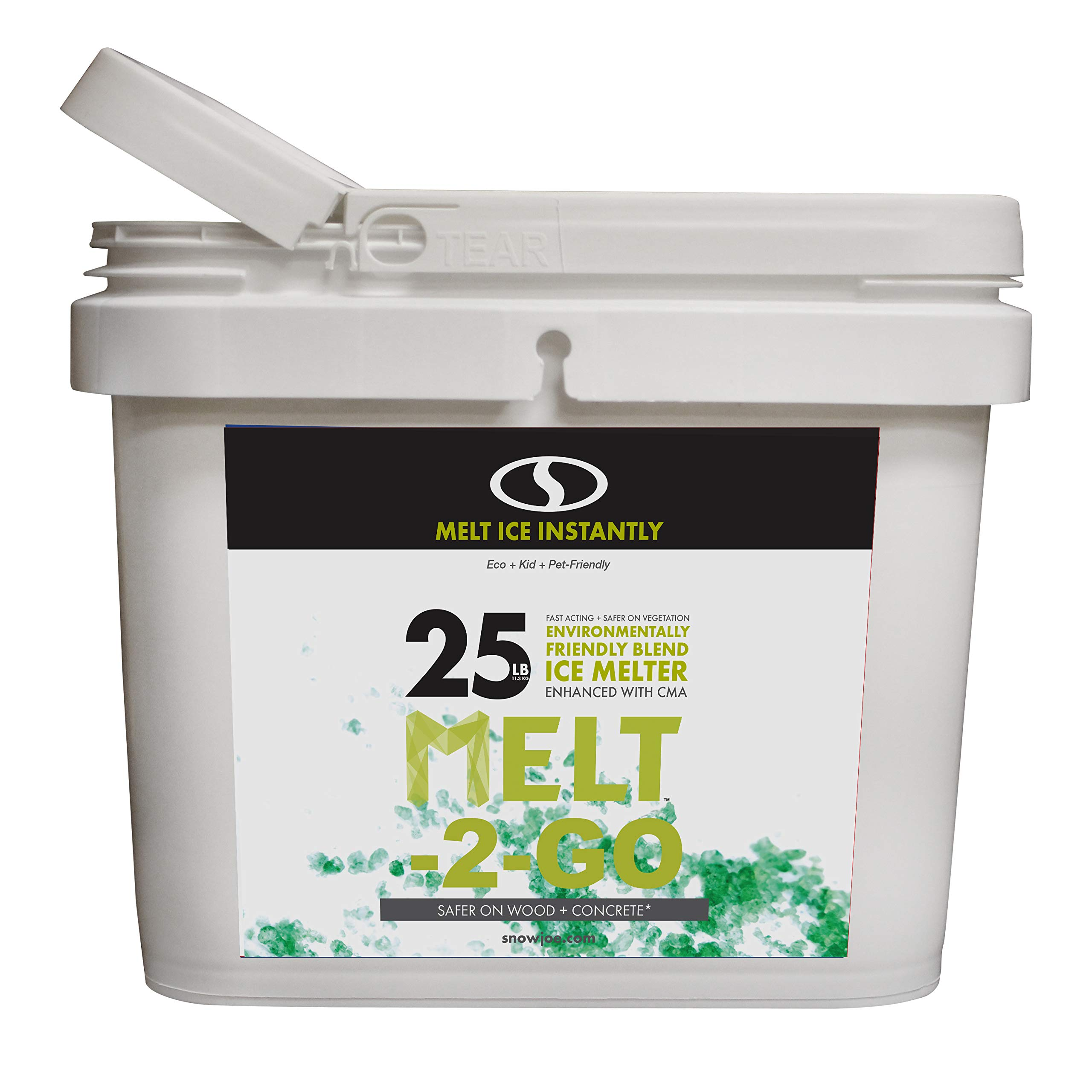 Snow Joe W/Scooper AZ-25-EB-BKT Melt-2-Go Nature + Pet Friendly CMA Blended Ice, 25 lb Bucket, Green by Snow Joe