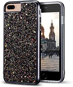 "iPhone 8 Plus Case, iPhone 7 Plus Case, MIRACASE Bling Sparkle Dual Layer Shockproof Hard PC Cover Soft TPU Inner Glitter Case for iPhone 7 Plus/8 Plus/6 Plus/6S Plus (5.5""), Black"