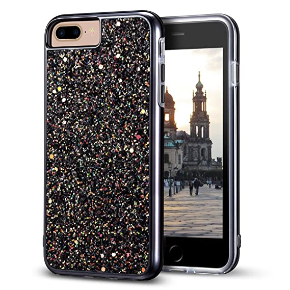 buy online d2fa3 9b66f iPhone 8 Plus Case, iPhone 7 Plus Case, MIRACASE Bling Sparkle Dual Layer  Shockproof Hard PC Cover Soft TPU Inner Glitter Case for iPhone 7 Plus/8 ...