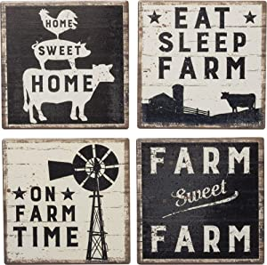 Primitives by Kathy 39412 Absorbent Stone Coasters, Set of 4, Farm Sweet Farm