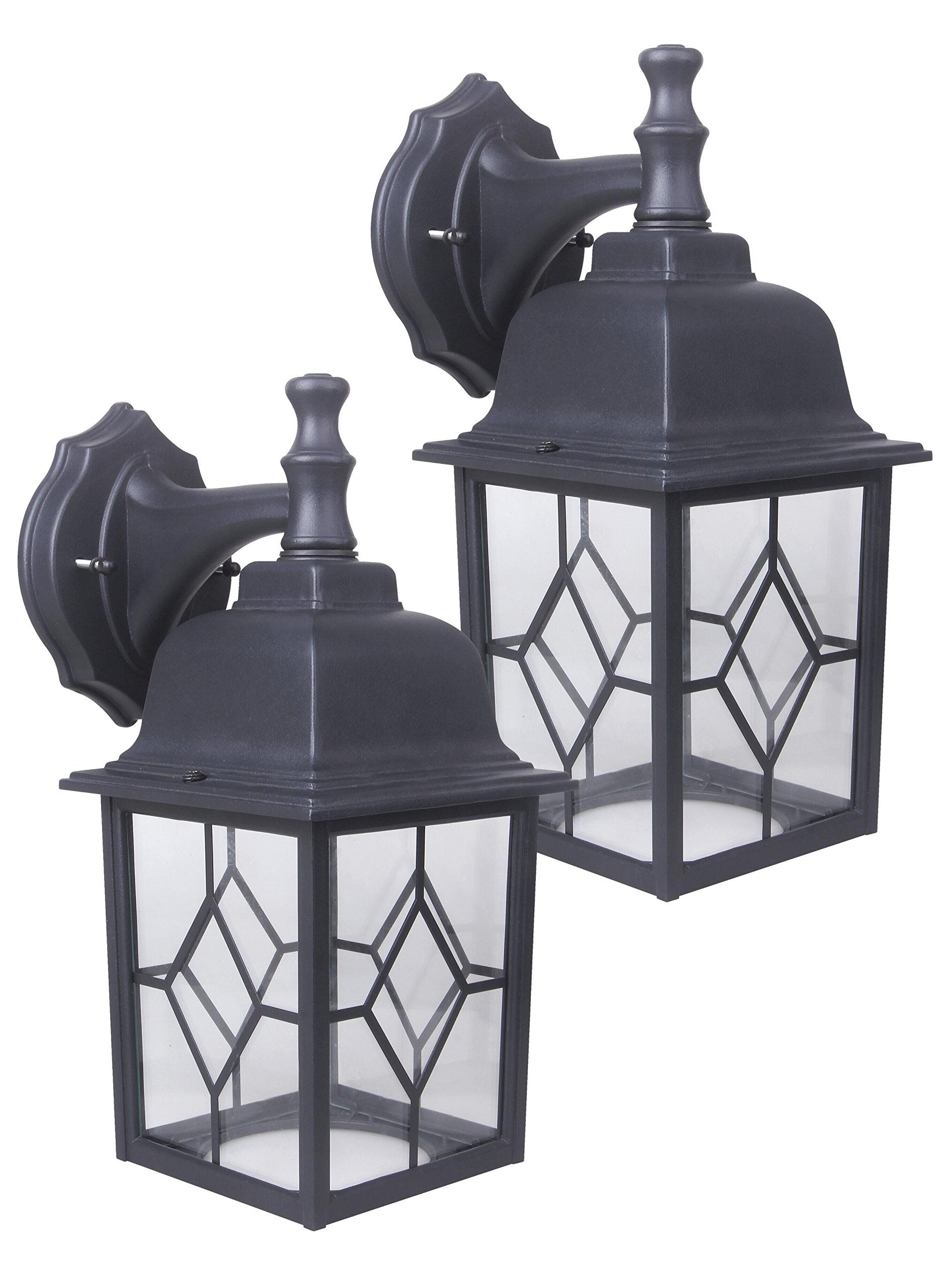 CORAMDEO Outdoor LED Wall Lantern, Wall Sconce 11W Replace 100W Traditional Lighting Fixtures, 1000 Lumen, Water-Proof, Aluminum Housing Plus Glass, ETL and Energy Star Certified, 2-Pack