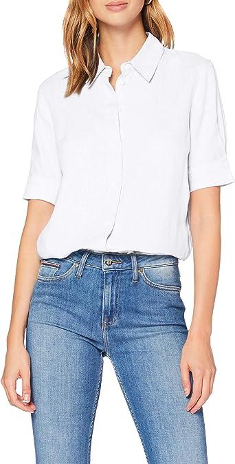 Tommy Hilfiger Essential C Camisa con Mangas con Dos Botones para Mujer