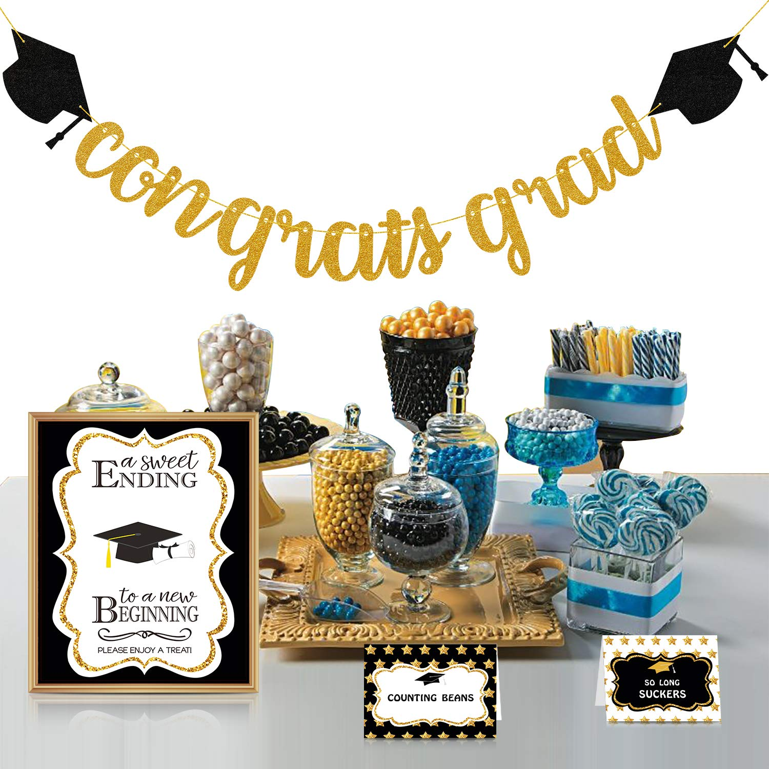 2019 Graduation Party Decorations - Candy Bar Buffet Glitter Banner Sign Label Tent Cards Set - Grad Supplies Decor for Highschool Prek - Black and Gold