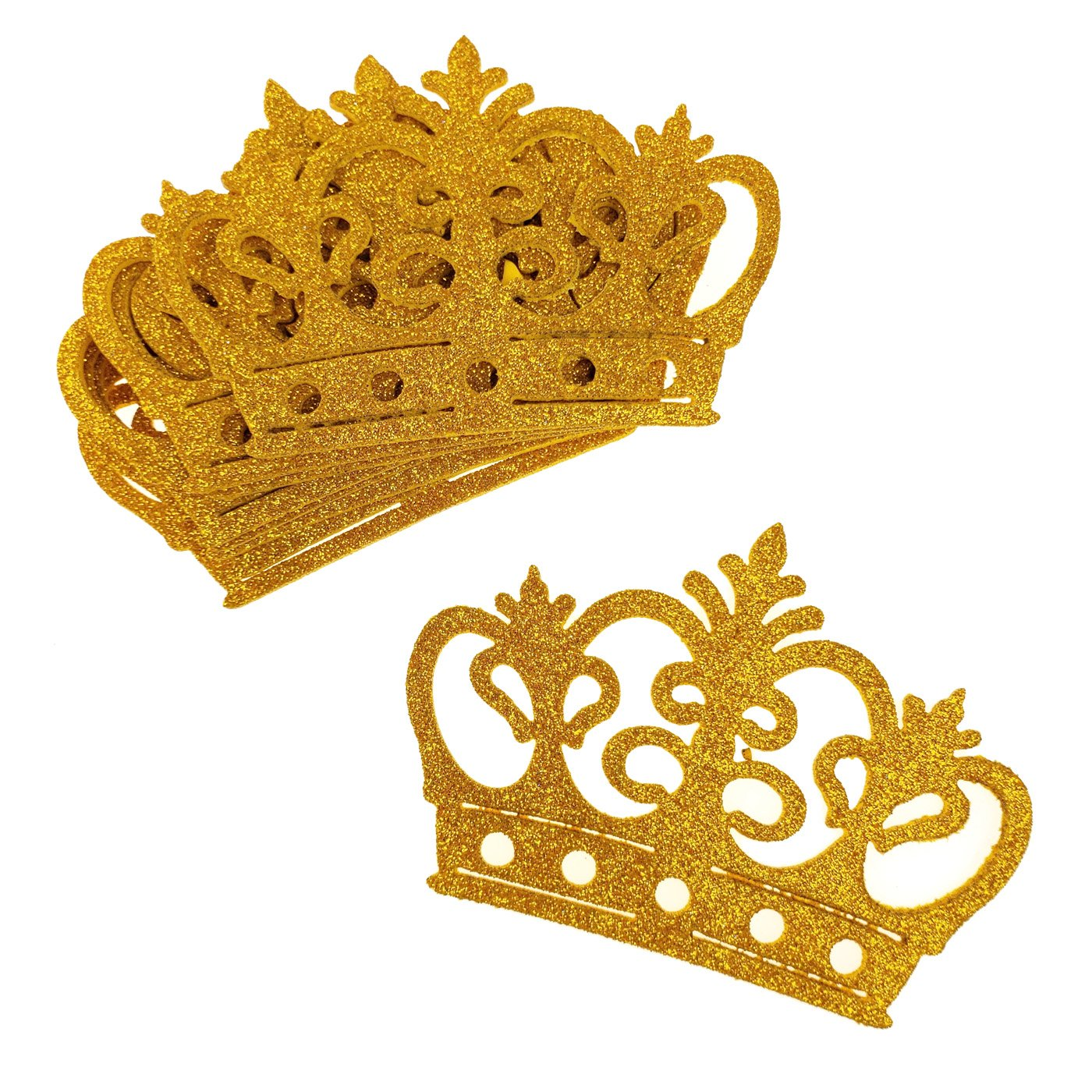 4-3//4-Inch Homeford Glitter Foam Royal Crown Cut-Outs Gold 10-Count