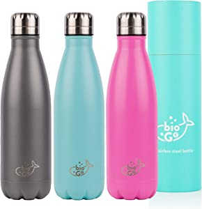 bioGo Bottle (500ml) | Premium Stainless Steel Reusable Water Bottles | BPA-Free, Double Wall Insulation Metal Vacuum Flask | 12 Hours Hot & 24 Hours Cold | Sports, Office & Travel Drinks Thermos