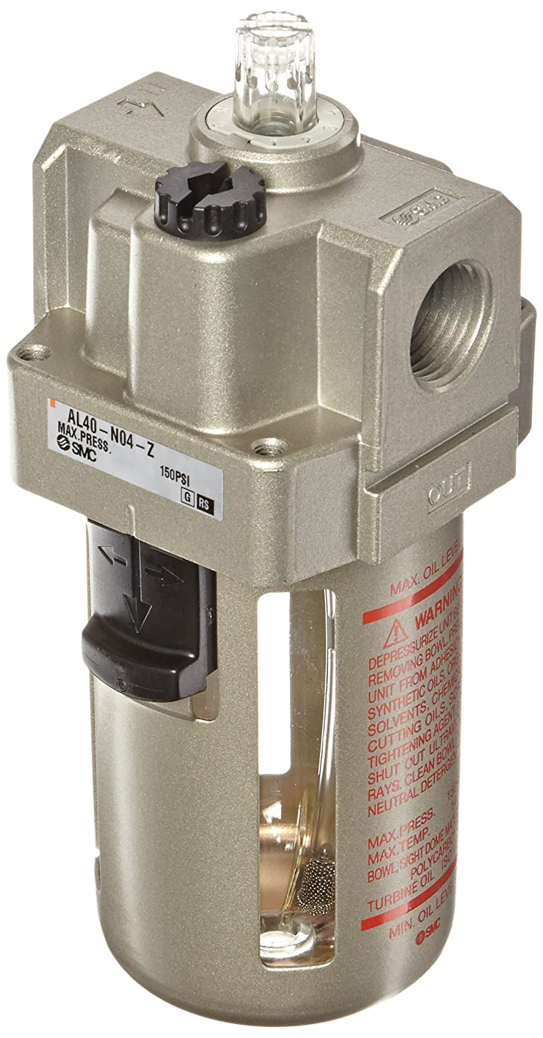 SMC AL40-N04-Z Lubricator, Polycarbonate Bowl, without Drain Cock, 135 mL Oil Capacity, 50 L/min Dripping Flow Rate, 1/2' NPT
